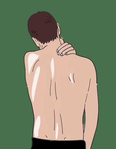 Illustration wie sich ein Mann mit dunklen Haaren und oberkoerperfrei mit einer Hand den Nackenbereich haelt