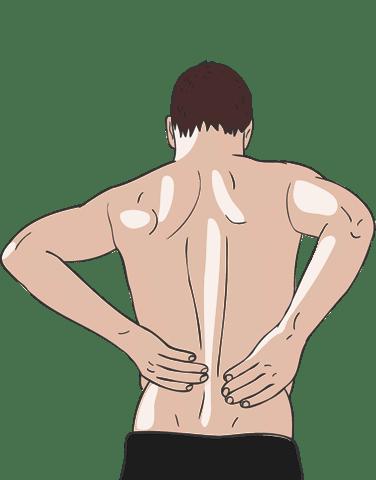 Illustration: Mann mit freiem Oberkoerper haelt sich den unteren Ruecken