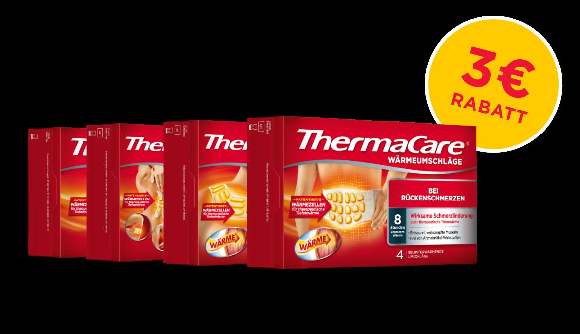 Roter Hintergrund mit vier verschiedenen ThermaCare® Waermepflastern und Umschlaegen mit schriftlichem 3 Euro Rabatt Hinweis